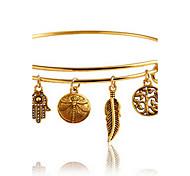 Недорогие -Жен. Браслет цельное кольцо Богемные Мода Сплав В форме листа Бижутерия Повседневные Бижутерия Золотой
