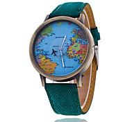 Недорогие -Муж. Наручные часы Кварцевый Повседневные часы Материал Группа World Map Pattern Черный Белый