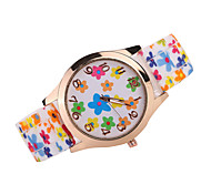 Women's Fashion Watch Quartz Japanese Quartz Casual Watch Silicone Band Flower Black White Brown Multi-Colored