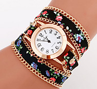 Women's Watch Bohemian Style Flower Leather Band Anlog Quartz Bracelet Fashion Watch Strap Watch
