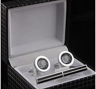 Set of 3 Silver Oval Cufflinks & Tie Stickpin Jewelry  Box Packaging(Random Stickpin) Christmas Gifts