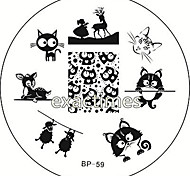 cheap -Cat Deer Sheep Nail Art Stamping Template Image Plate BORN PRETTY BP #59