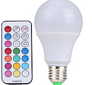 abordables -YWXLIGHT® 10W 500 lm E26/E27 Bombillas LED de Globo A60(A19) 12 leds SMD Regulable Decorativa Control Remoto Blanco Fresco RGB AC