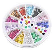 Недорогие -12 цветов искусства ногтя кристаллический блеск горный хрусталь цветок маникюрные колеса шпильки