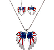 May Polly The United States and Europe the United States and the United States flag Angel Wing Necklace Earrings Set