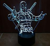 Deadpool дотрагивайтесь затемнением 3D LED ночь свет 7colorful украшения атмосфера новизны светильника освещения свет рождества