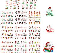 11 Designs Nail Art Red Glitter Christmas Stickers Beautiful Christmas Image Nail Decoration BJC023-033