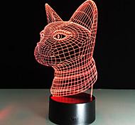 Недорогие -Новый 3d моды привело ночь свет кошка головы акриловые красочные градиент атмосфера лампа usb спальня стол дома кафе бар декор 7colors