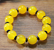 Strand Bracelets Agate Round Fashionable Daily / Casual Jewelry Gift Yellow