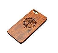 деревянный случай iphone компас север резьба вогнуто выпуклая жесткий заднюю крышку для iPhone 5 / 5s