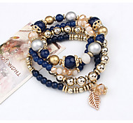 cheap -Women's Strand Bracelet Vintage Multi Layer Handmade Beaded Alloy Circle Leaf Jewelry Casual Costume Jewelry Black Blue Pink