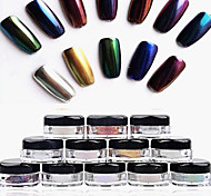 cheap -12pcs 2g/Box Nail Glitter Powder Shinning Mirror Eye Shadow Makeup Powder Dust Nail Art DIY Chrome Pigment Glitter