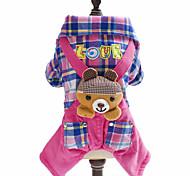 Недорогие -Собаки Комбинезоны Одежда для собак Зима Весна/осень В клетку Животный принт Английский Мода Синий Розовый