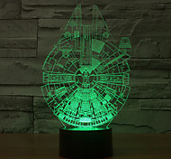 cheap -Millennium Falcon 3D LED Night Light 7Colorful Decoration Atmosphere Lamp Novelty Lighting Light