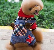 Недорогие -Собака Толстовки Комбинезоны Одежда для собак Праздник Мода В клетку Красный Зеленый Костюм Для домашних животных