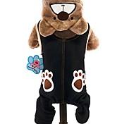 Кошка Собака Костюмы Толстовки Комбинезоны Одежда для собак Очаровательный Косплей Сохраняет тепло Животные Серый Коричневый Костюм Для