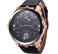 Men's Military Fashion Big Size Four Time Display Leather Strap Quartz Wrist Watch