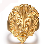 cheap -Men's Band Ring Golden Stainless Steel Lion Animal Personalized Vintage Party Work Casual Fashion Durable Punk Christmas Gifts Wedding