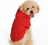 Cat Dog Hoodie Dog Clothes Cotton Spring/Fall Winter Casual/Daily Sports Solid Black Orange Gray Red For Pets