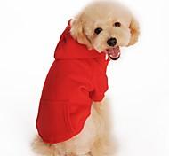 Gatti Cani Felpe con cappuccio Abbigliamento per cani Inverno Primavera/Autunno Tinta unita Casual Sportivo Nero Arancione Grigio Rosso