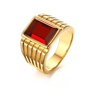 cheap -Men's Stainless Steel / Rhinestone / Gold Plated Band Ring - Personalized / Fashion Golden Ring For Party / Daily / Casual