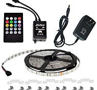 Недорогие -водонепроницаемый 150leds 5м цвет RGB светодиодные полосы света комплект с контроллером 20-клавишная музыка здравый смысл ИК- и 12v 3a