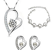 May Polly Romantic heart-shaped Necklace Earrings Crystal Bracelet Set