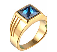 cheap -Men's Rhinestone Statement Ring - Square Personalized / Fashion Gold / Silver Ring For Christmas Gifts / Party / Daily