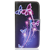 PU Leather Material Purple Butterfly Pattern Painted Phone Sets for Samsung Galaxy J510 J5 J310 J3