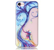 Glow in the Dark Curve Tree Lovers Pattern Embossed TPU Material Phone Case for  iPhone 7 7 Plus 6s 6 Plus SE 5s 5