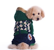 Cat Dog Coat Jumpsuit Dog Clothes Casual/Daily Keep Warm Fashion British Red Green Costume For Pets