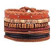 Unisex Fashion Jewelry  Handmade Adjustable Strand Wristband Leather Bracelet Set Casual/Daily Women Men Christmas Gifts