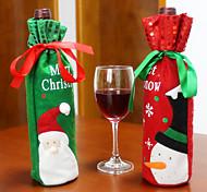 2pcs de la venta caliente de la decoración de Navidad Santa Claus muñeco de nieve cubierta de la botella de vino tinto