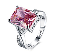 cheap -Women's Synthetic Ruby Sterling Silver / Zircon / Imitation Diamond Heart Statement Ring / Band Ring - Personalized / Love / Fashion Red