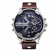 CAGARNY Men's Military Watch Fashion Watch Wrist watch Calendar Casual Watch Quartz Leather Band Luxury Black Brown
