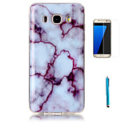 cheap -For Samsung Galaxy J7(2016) Case Cover with Screen Protector and Stylus Granite Marble Pattern Soft TPU Case J5 J7 J3(2016) Grand Prime