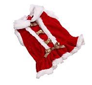 Кошка Собака Платья Одежда для собак Флис Зима Очаровательный Рождество Однотонный Красный Для домашних животных