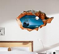 Недорогие -3d наклейки стены ночь вода озера материал ПВХ декоративные стены кожи