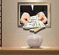 Недорогие -3d наклейки стены доллар отверстие материал ПВХ стикеры стены декоративной кожи