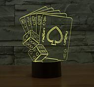 Недорогие -игральные карты коснитесь затемнением 3D LED ночь свет 7colorful украшения атмосфера новизны светильника освещения свет рождества