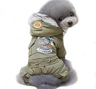Собака Плащи Толстовки Одежда для собак Косплей Сохраняет тепло Защита от ветра Мода Полиция/армия Охотничий зеленый Хаки Костюм Для