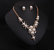 Women Bohemian Style Luxury Diamond Pearl Necklace Earring Set