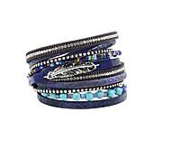 cheap -Women's Charm Bracelet Wrap Bracelet Leather Bracelet Bracelet Leather Rhinestone Feather Simulated DiamondFashion Vintage Bohemia