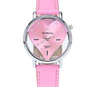 Women's Fashion Watch Wrist watch / Quartz PU Band Heart shape Cool Casual Black White Blue Red Pink
