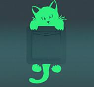 Животные Мультипликация Мода Наклейки Светящиеся наклейки Наклейки для выключателя света,Винил Украшение дома Наклейка на стену For Стена