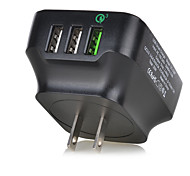 Tutuo 25W Quick Charge3.0 3-Port Universal USB Travel Quick Wall Fast Charger for Apple Samsung Huawei xiaomi and Other cell phone