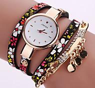 Women's Fashion Watch Wrist watch Bracelet Watch Colorful Quartz PU Band Vintage Flower Bohemian Charm Bangle Cool Casual Multi-Colored Strap Watch