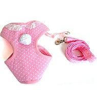 cheap -Cat Dog Harness Leash Soft Safety Vest Casual Solid Fabric Pink