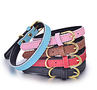 cheap -Cat Dog Collar Adjustable / Retractable Handmade Solid Christmas Genuine Leather Black Brown Red Blue Pink
