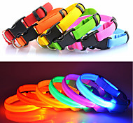 cheap -Cat Dog Collar LED Lights Adjustable / Retractable Solid Nylon Red Green Blue Pink Rainbow